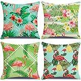 LAXEUYO 4er Set Kissenbezug 45x45 cm, Tropisches Flamingo-Blatt Kissenhülle Dekorative Baumwolle...