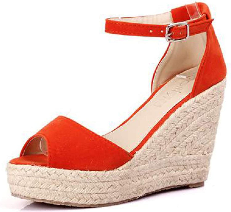 MEIZOKEN Women's Peep Toe Espadrilles Wedge Sandal Buckled Ankle Strap Summer High Heel Platform Slide Sandals