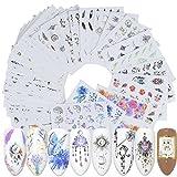 Kanggest.40 Hojas Arte de uñas Pegatinas Conjunto Etiquetas engomadas del Arte del Clavo de la Unicornio Diseño 3D Manicura Consejos Calcomanías Envolturas para Mujeres Niñas