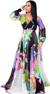 Women's Summer Long Maxi Dresses - Floral Printed V Neck Long Sleeve Wrap Boho Dreses