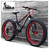 NENGGE Dual-Suspension Mountain Bikes with Dual Disc Brake for Adults Men Women, All Terrain Anti-Slip Fat Tire Mountain Bicycle, High-carbon Steel Mountain Trail Bike,Red,24 Inch 21 Speed
