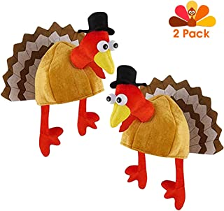 Babyyon Thanksgiving Turkey Hat Novelty Turkey Hats with Head Legs and Tail Fancy Dress for Festival Costume Accessories