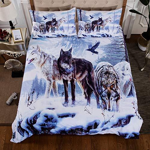 Vanson 3D Wolf Com Forter Bezug Kinder Teen Bettbezug-Set Tiermotiv Decor Tagesdecke Überwurf Schneewolf-Muster Steppdecke Wild Animal Bedruckt Bettwäsche für Erwachsene Damen Herren (Queen Size)