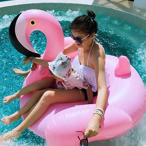 WEGCJU Bouée Gonflable Géante Flamingo Rangée Flottante Gonflable portable Mode Mignonne Appropriés à Tous Les Genres De Sports Aquatiques Jouets De Fête pour Adultes,150cm