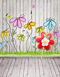DLQX Wooden Floor Wall Flowers Painting Photography Backdrops Photo Props Studio Background 5X7Ft