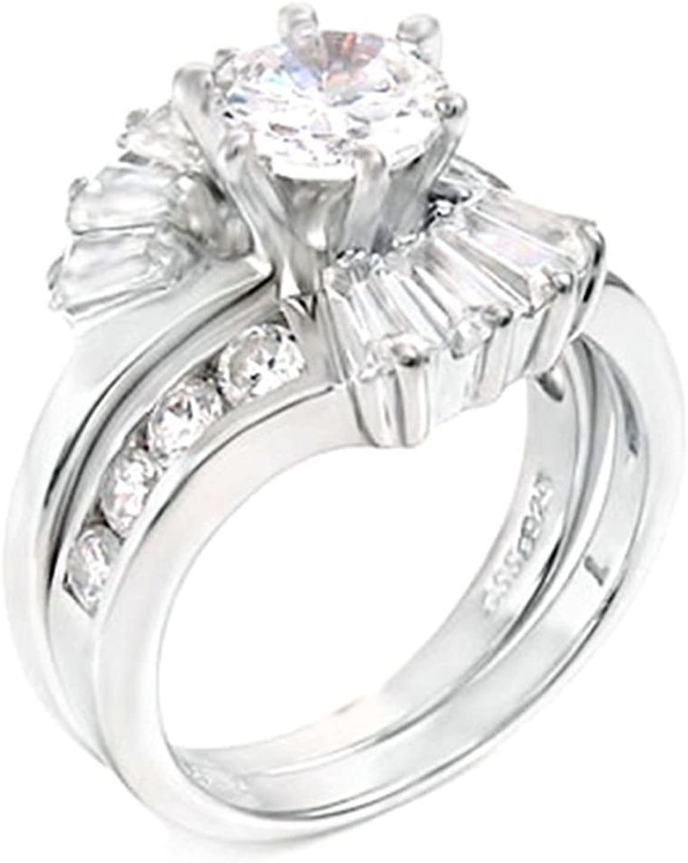 1.25 Sales ct Round Bridal Wedding Columbus Mall ring 2 Silve Set Piece 925 designer