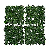 GreenBrokers Green Artificial Wall Hedge with Dark Leaf Foliage and White Flowers (Pack of 4) -UV Stable Vertical Garden