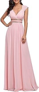 Ever-Pretty Damen Abendkleid A-Linie V Ausschnitt Brautjungfer rückenfrei lang 08697