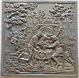 Lunaway Chimenea de hierro fundido, 60 x 60 cm, grosor de 1 cm