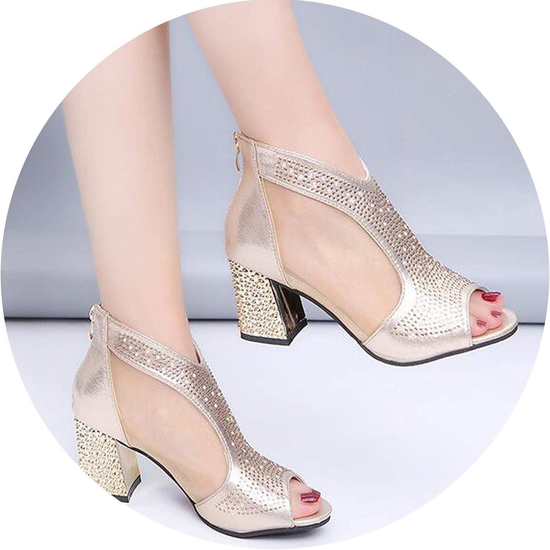 Coolemon Fashion 2019 Women Sandals Bling 7cm High Heels Diamond Summer Square Heel Women shoes Wedding shoes Leather Sandalia women m637