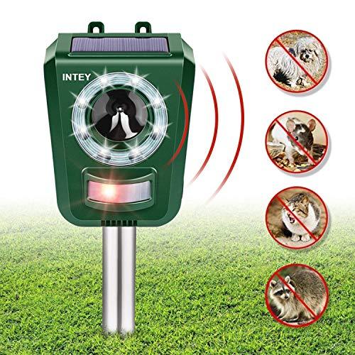 INTEY Cat Fright Ultraschall-Solar- und batteriebetriebene Marderschrecken Einstellbare Frequenz und Empfindlichkeit Wetterfestes Katzenabwehr-Tierabwehrmittel - Verbessert