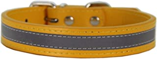AMDXD Collars for Dogs Gold PU Leather Collars for Dog Reflective Strip Gift for Pet