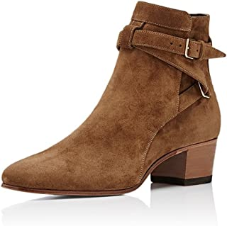 Sponsored Ad - YDN Women Block Low Heel Suede Cowgirl Boots Pull on Ankle Bootie with Buckle