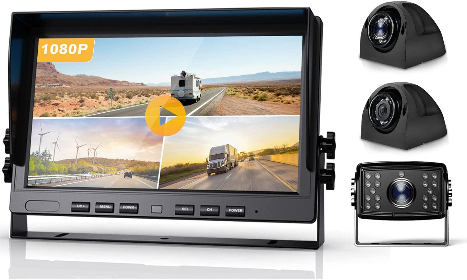 Fursom 10.2'' 1080P DVR Wired Backup Camera and HD Monitor Kit, Quad Split Screen, IP69 Waterproof Side View Camera x 2, Rear View Reverse Camera x 1 for Trailer, Van, RV, Camper, Tractor, Truck, Bus