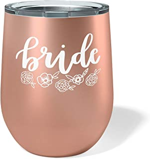 xo, Fetti Bride Wine Tumbler - 12 oz Stainless Steel Stemless Cup w/Lid | Gifts for Bride To Be, Wedding, Engagement, Bridal Shower + Bachelorette Gift