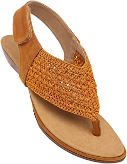 Life Womens Casual Wear Velcro Closure Flats_Gold