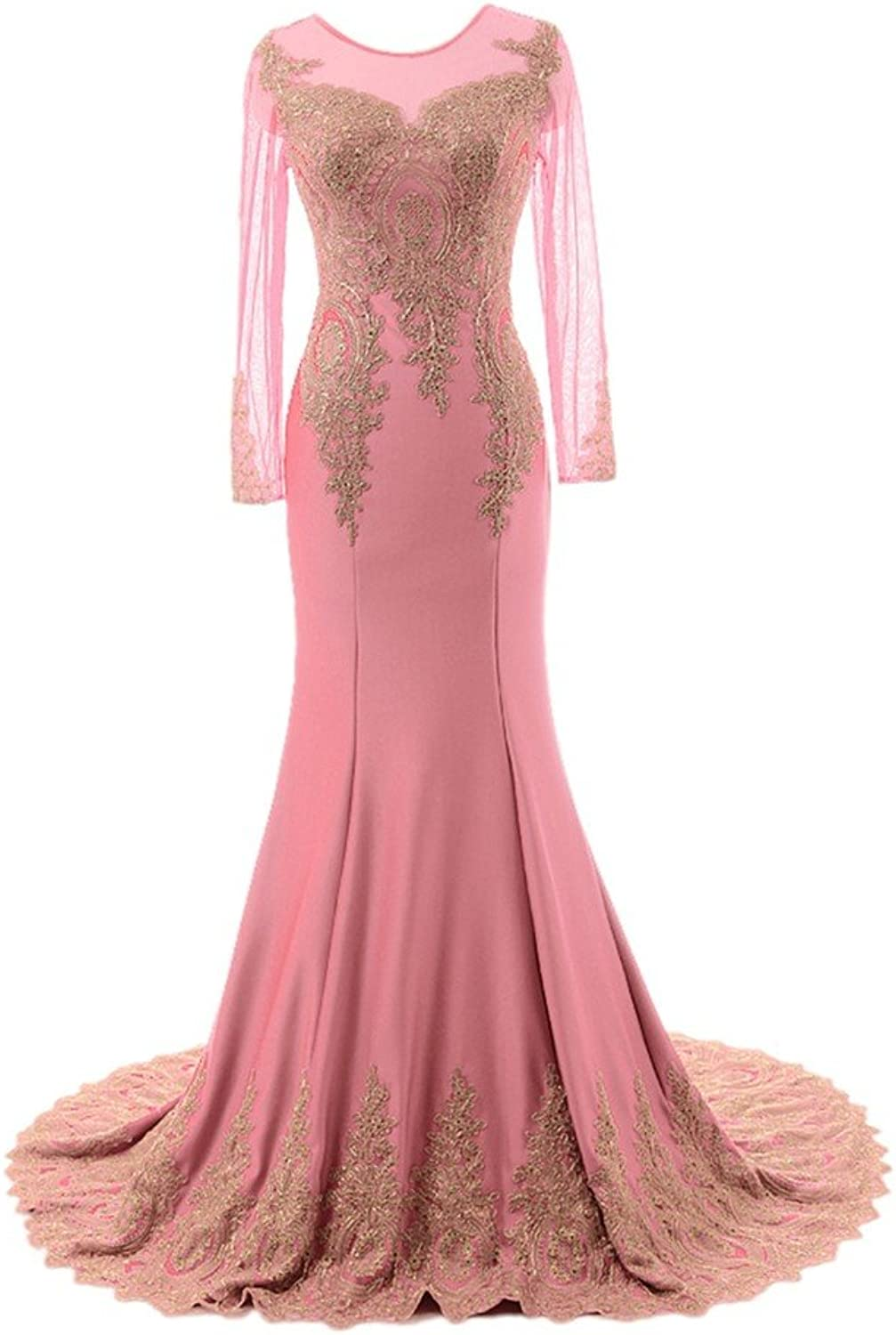 Epinkbridal Women's Long Sleeves Formal Evening Prom Dresses with Beaded