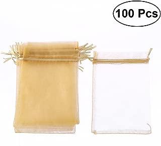 Toyvian Bolsa de Organza Boda con Cordón Blanca 100 Piezas (Dorado)