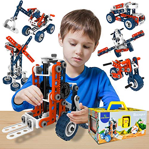 STEM MAGIC Educational Building Toys for Kids, New 13-in-1 (156pcs) STEM Toys for 6 7 8 9 10 11 12 Year Old Boys & Girls, Ideal Erector Set Gift for Creative Builders