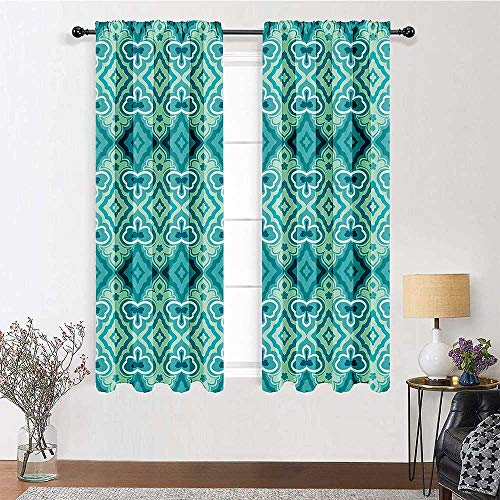 Farmhouse Kitchen Curtains Teal Decor Custom Drapes Abstract Geometric Pattern Vintage Floral Design Historic Architectural Ornament 2 Panels 72' x 84' Teal Beige