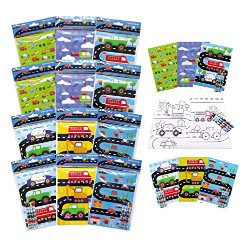 TINYMILLS Transportation Vehicles Trains and Construction Coloring Book for Kids Party Favor Set with 12 Coloring Books and 48 Crayons Birthday Party Supplies Cars Party Favor Bag Fillers