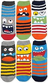 Jefferies Socks Calcetines para niños, diseño de monstruo, paquete de 6 pares