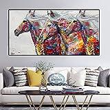 YHZSML Carteles e Impresiones de Animales Graffiti Street Art Three Running Horse Canvas Painting Wall Pictures para Sala de Estar Modern Wall Art 40x80CM
