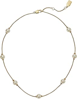 "Pearl Update 16"" Single Row Station Necklace"