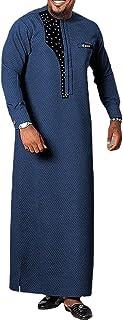 GaoYunQin Africain pour Hommes Chemise a Manches Longues Vêtements Ethniques Coupe Ajustée Robe a Col Rond Robes Décontrac...
