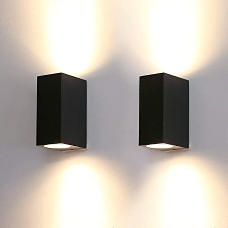 HLFVLITE Outside Wall Light Aluminium Up Down Outdoor Wall lamp, Max 35W GU10 Exterior Wall Sconce, IP44 Waterproof Black Garden Lights for Patio, Terrace, Hallway, Porch (2 Pack)