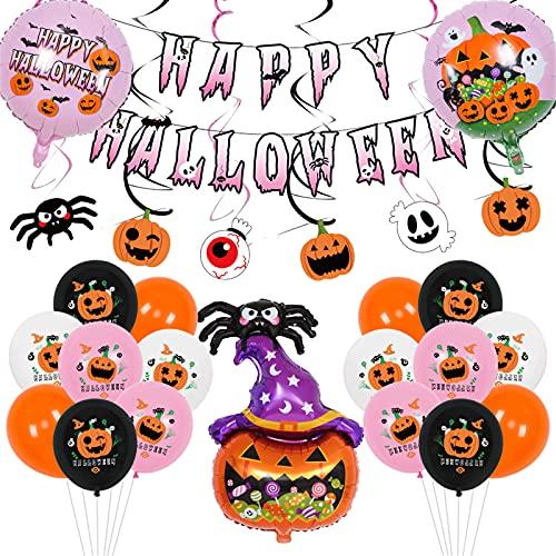 QKFON Globos del alfabeto de Halloween feliz, pancarta de papel de aluminio, fantasma de calabaza araña decoración de gato para fiesta de Halloween