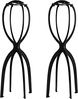 Dreamlover 2 Pack 19.7 Inches Portable Tall Wig Stands for All Wigs, Collapsible Wig Dryer, Durable Wig Display Tool, Travel Wig Stands, Black
