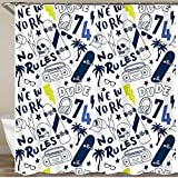 NISENASU Neueste Duschvorhänge Duschvorhang Mit Haken New Yorker Skater Wasserdicht Bad Vorhang Waschbar Bad Vorhang Polyester Stoff mit 12 Haken 180x180 cm
