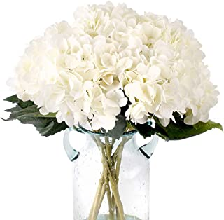 Louiesya Pack of 3 Artificial Hydrangea Silk Flowers Bouquet Faux Hydrangea Stems for Wedding Centerpieces Home Decor (White)
