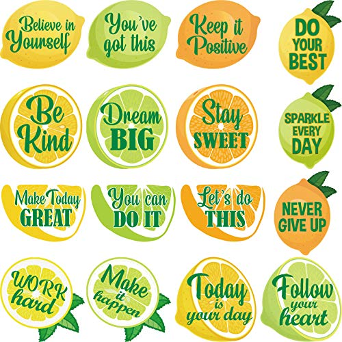 64 Pieces Lemon Cutouts Bulletin Board Lemon Motivational Positive Sayings Cut-Outs Teacher Rewarded Paper Fruit Decorative Cutouts with Glue Point for Summer Bulletin Board Lemonade Classroom Party