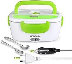homeasy Boîte Chauffante Électrique, Lunch Box Chauffant 220V 12V Boîte Repas Amovible en Acier Inoxydable 1,5L, Hermétiqu...