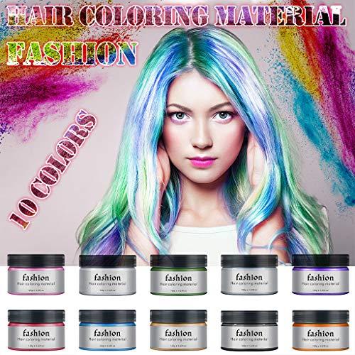 XZTT Fashion Haarfarbe Material, Unisex DIY 10 Colors Color Wax Mud Cream, Einmal Haartönung Haarwachs für Mädchen, Geschenke für Geburtstag Karneval & Weihnachten (Pink)