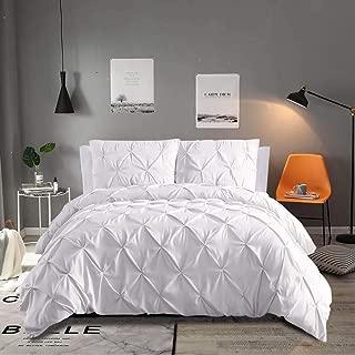 Vailge 3-Piece Luxurious Pinch Pleat Comforter Set,All Season Pintuck Comforter Set,Plush Microfiber Fill Duvet Insert,Machine Washable Comforter Bedding-Hypoallergenic & Soft(Queen,White)