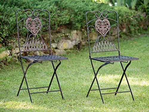 aubaho Meubles de Jardin 2X Chaise Chaise de bistrot de siège Fer Antique-Style Brun