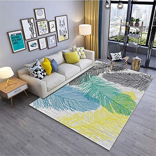 alfombras Antideslizantes,Alfombra de patrón de Plumas Verdes SPT SPT SPT Alfombra de Arrastre de bebé Transpirable ,Alfombra recibidor Interior -Verde_50x80cm