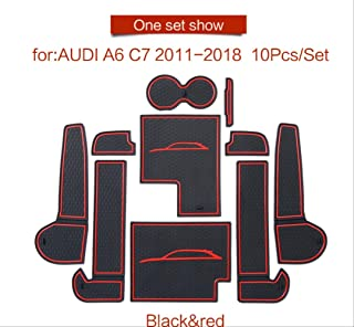 linfei Alfombrilla De Ranura para Puerta para Audi A6 C7 2011~2018 A6 Portavasos Alfombrillas Antideslizantes Accesorios para Posavasos De Goma