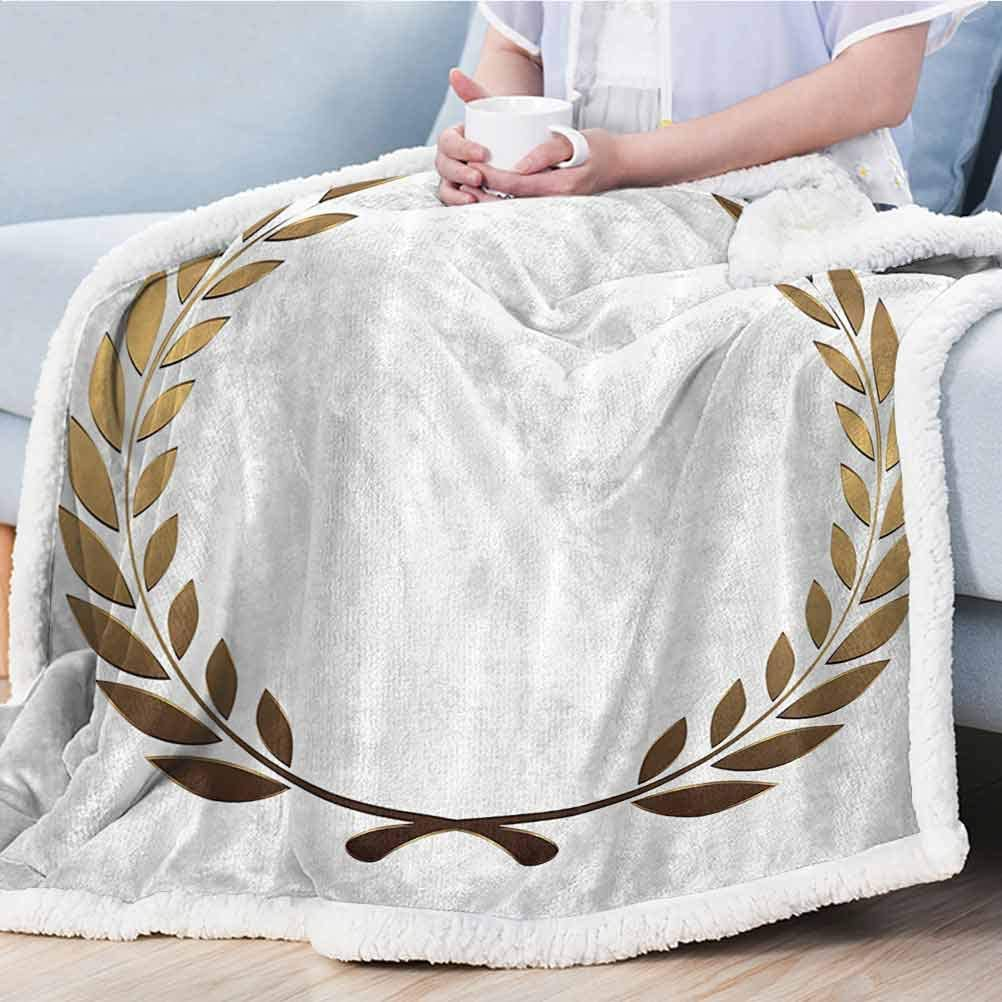 Golden Sherpa Throw Plush Blanket Super Soft Warm Comfy Plush Fleece Throws Ivory Dust Colored Backdrop with Geometirc Flowers Shapes Image Print Black White and Gold 50x60 130cmx150cm