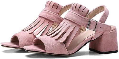 Xie Sandales Femme Glands   givré Velours    Chaussures Romaines, Confortables antidérapantes, Shopping Party 6cm, 33-41, rose, 34  avec le prix bon marché pour obtenir la meilleure marque