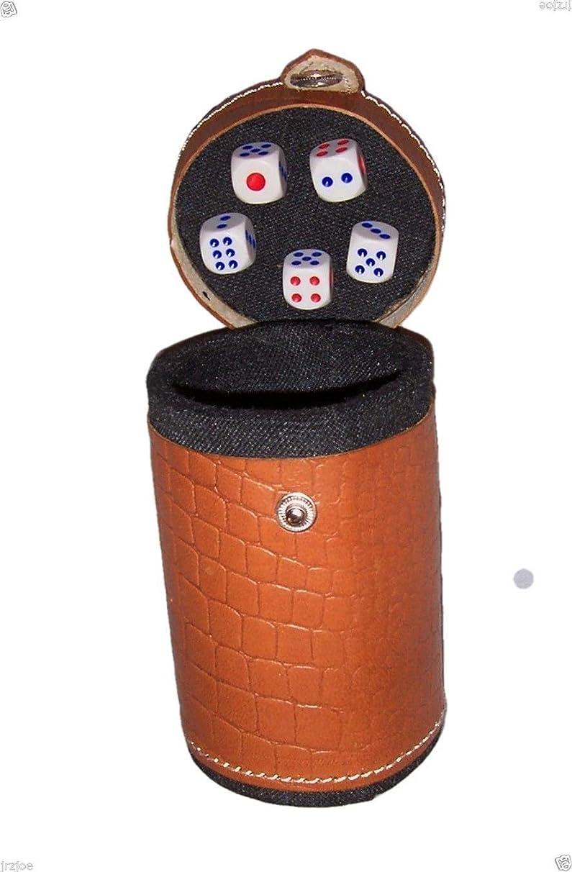 New TAN Casino Leather Dice Cup Shaker Craps Cubilete 5 dice