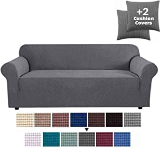 JINAMART High Stretch Couch Cover-One Piece Sofa Cover Furniture Protector + Two Cushion Covers and Pockets on The Sides… (Dark Grey, Loveseat)