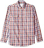 Amazon Essentials Men's Regular-Fit Long-Sleeve Two-Pocket Twill Shirt, Navy/red Check, XX-Large