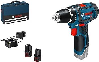 Bosch GSB12V-15 06019B690H - Taladro atornillador de impacto + 2 baterías de 12 V 2 Ah Li-ion + bolsa de transporte