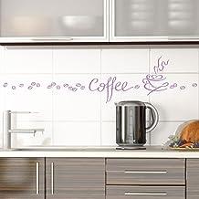 Grandora 1045 W muur tattoo koffie kopje koffiebonen I lila I eetkamer keuken sticker muur sticker