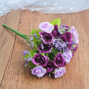 Artificial Rose Flower Silk European Style Bouquet Fake Flowers Small Bud Roses Bract Simulation Wedding Home Party Decoration,A Purple
