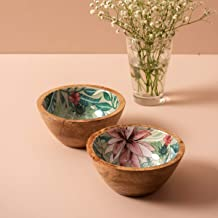 Nestroots Decorative Wooden Enamel Serving Printed Bowl for Dry Food – 6 inches | Salad Serving Bowl | Fruit Bowl | Snack Bowl | Mixing Bowl | Wooden Potpourri Bowl Set of 2